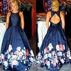 2016 Print Floral Prom Dresses Sexy Back With Jewel Neck And Sweep Train Real…