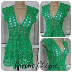 Crochê Chique: SAÍDA DE PRAIA CROCHÊ CHIQUE Crochet Girls Dress Pattern, Crochet Cardigan, Cute Crochet, Crochet Top, Crochet Summer Dresses, Crochet Humor, Diy Dress, Crochet Fashion, Crochet Clothes