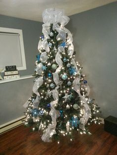 Blue , Silver and White Christmas Tree