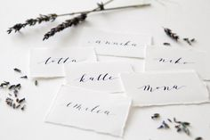 Calligraphy place cards by www.makeadesign.fi