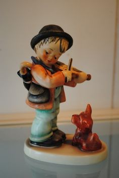 1960s Retired German Goebel Hummel Puppy Love Little Violinist By Arthur Moeller