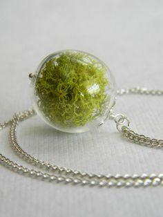 Mottled Earth.... Glass Orb Keep Sake, Lime Green Moss