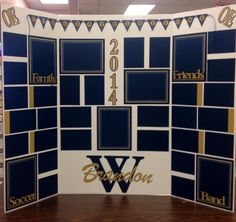 Display board for Graduation...just add pictures over the navy blue photo mats!!