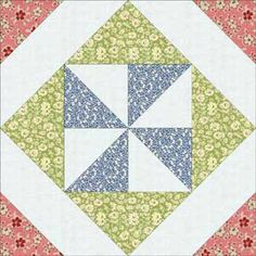 quilt blocks | Thirties Pinwhee-in-a-Square Quilt Block Pattern