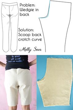 Hottest Totally Free sewing pants how to make Suggestions Full rear pants adjustment - Pants fitting help - How to Sew Pants that Fit - Fit Problems and Sol Sewing Pants, Sewing Clothes, Sewing Projects For Beginners, Sewing Tutorials, Sewing Tips, Sewing Basics, Sewing Ideas, Fabric Purses, Fabric Scraps