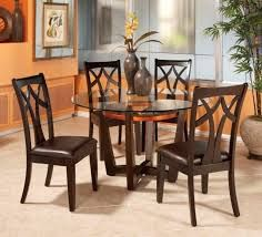 Round Glass Top Dining Table Set W 4 Wood Back Side Chairs : Appealing  Round Glass Top Dining Tables Good Looking