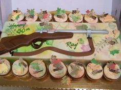 Hunting Rifle - The 22 is made from fondant/gumpaste and the cake is covered in buttercreme.
