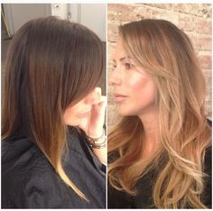One of my popular ombre brunette decided to go blonde ! Let the journey begin. This was after she cut her hair so most of the ombre was cut out. #kimkardashian #chocolatebrunette #honey #blonde #balayage #highlights #makeover #sexy #victoriasecret #brunette #longhair #chocolate #honeyblonde #dc #haircolor