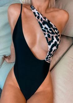 Style:Sexy Pattern Type:Leopard Material:Polyester Neckline:Halter Neck Sleeve Style:Sleeveless Decoration:Cut Out, Backless Length:Regular Occasion:Beach Package Swimwear Note: There mi. Bikini Outfits, Girly Outfits, Fashion Outfits, Woman Outfits, Club Outfits, Backless One Piece Swimsuit, One Piece Swimwear, 1 Piece Swimsuit, One Piece Bikini