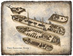 A sampling of fantasy genre architectural views and cutaways created for a variety of RPG products. Dungeons And Dragons, Ship Map, Rpg Map, Dungeon Maps, Falling Stars, Map Design, Medieval Fantasy, Medieval Castle, Fantasy World