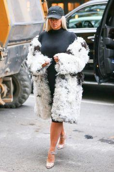 Fur + black cap