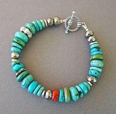 U&C Sundance Blue & Green Turquoise, Coral, Pyrite Sterling Silver Bracelet Turquoise Jewelry, Boho Jewelry, Jewelry Crafts, Jewelry Art, Gemstone Jewelry, Turquoise Bracelet, Beaded Jewelry, Jewelery, Jewelry Bracelets