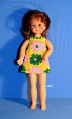 Vintage Tutti Chris Doll 8130 w Yellow Floral Sundress Green Panties | eBay