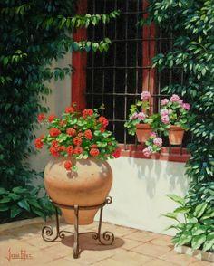 Jesús Fernández, pintor: Rincón de patio cordobés