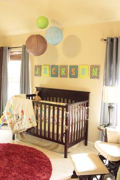 <3 I like the colors! Project Nursery - Owl Nursery Crib View