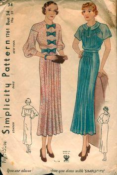 dolman sleeve, pleat front skirt, c.1930 (involves smocking?!)