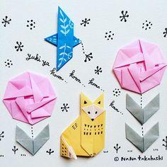 ゆーキーやコンコー、 コンコン コンコン キツネさーん 今日は奈良は湿った雪がコンコン❄️❄️ コトリは木ノ実運ぶのに忙しそう(^.^) #paperflower #papercraft #illustration #origami #fox #snowday #bird #お花 #折り紙 #おりがみ #きつね #小鳥 #イラスト#雪