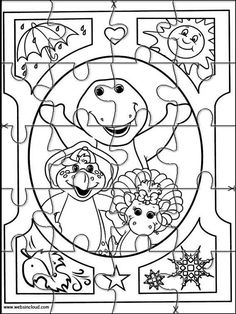 Printable Jigsaw Puzzles To Cut Out For Kids Barney And Friends 18 Coloring Pages