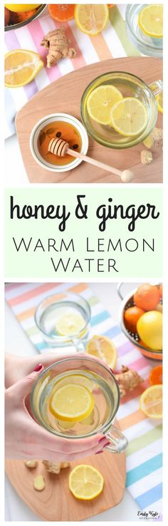 Stay hydrated and give your immune system a gentle boost to fend off common winter ailments with this naturally soothing Honey & Ginger Warm Lemon Water. via @EmKyleNutrition #HotWaterAndLemonForWeightLoss #HowMuchLemonInWater #BoiledLemonWaterBenefits Lemon Water Health Benefits, Honey Benefits, Cannabis, Warm Lemon Water, Ginger Water, Drinking Lemon Water, Lemon Uses, How To Squeeze Lemons, Recipes