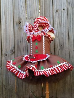 Custom gingerbread girl pageant tutu dress costume by RainbowsLNG
