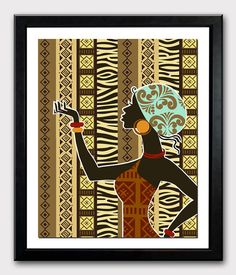 "African Artwork, African Woman, African Painting, African Wall Decor, South African Art, African Wax Fabric - 8"" X 10"", $15 https://www.etsy.com/listing/150008576/african-artwork-african-woman-african?ref=v1_other_2"