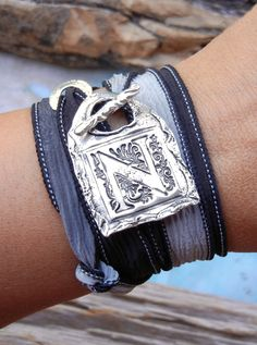 Monogram Jewelry, Monogram Bracelet, Initial Silk Wrap Bracelet. Coupon code PIN10 saves you 10% right now. Just CLICK pic to buy. #bestjewelry #buyablepins #monogrammedjewelry