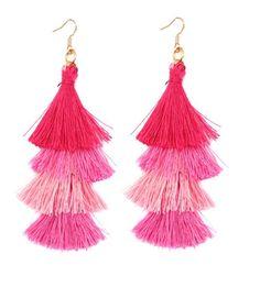 Pink Drop Four Layered Tassel Earrings