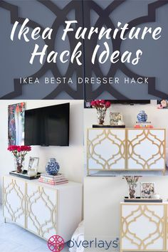 Transform your IKEA besta dresser with My O'verlays Ikea furniture hacks. Our overlays come in a variety of patterns and sizes to customize your home decor to your liking! Ikea Furniture Makeover, Ikea Furniture Hacks, Furniture Decor, Ikea Overlays, Decorative Panels, Dream Home Design, Home Decor Inspiration, Diy Design, Diy Home Decor