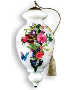 Ne'Qwa 6 Ne'Qwa Love in Bloom Hand-Painted Butterfly Glass Christmas Ornament #884 from Walmart | BHG.com Shop