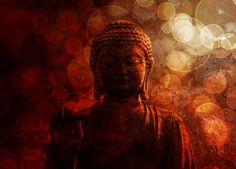 Bronze Zen Buddha Statue Raised Palm with Blurred Textured Red Background Zen Wallpaper, Photo Wallpaper, Samurai, Buddha Zen, Abstract Photography, Red Background, 1, Bronze, Statue