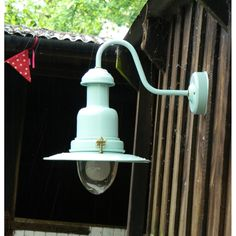 Outdoor Fisherman's Wall Lights come in 2 sizes standard (pictured here) and a large version. This one is in SeaSpray and pale duck egg blue. Although we do them in many other colours too.