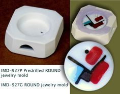 """Unavailable anywhere else on the market. Inside dimensions: D-1 1/2"""" x 1/2"""". Simply insert a scroll of shelf-paper into a hole and fill it with frit. IMD-927P PREDRILLED Jewelry Blank ROUND pod mold (MK).   eBay!"""