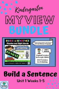 Are you new to Pearson, myView Literacy program & searching for phonics & high frequency word activities & worksheets? This Kindergarten, Build a Sentence Bundle, complete with pictures & voice recorded sentences is perfect. Include it in a literacy center or task list, especially for distance learning. Available in Digital & paper version. Digital, in Google Slides allows students to have the sentences read to them to assist with unscrambling the words.Great for any ELA program. #1stgrade