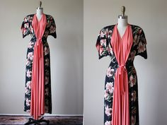 40s Dress - Vintage 1940s Dressing Gown - Navy Coral Cold Rayon Kimoni Sleeve Sweeping Maxi Dress S M - Tiger Lily Gown by jumblelaya on Etsy