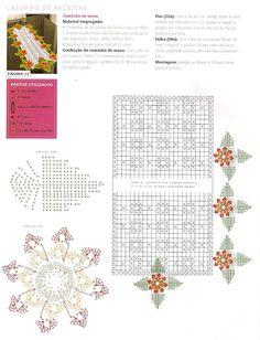 Caminho De Mesa Em Crochê Com 12 Flores E Folhas - CROCHE COM RECEITAS