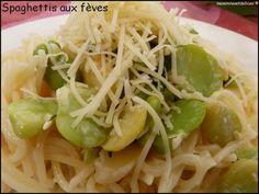 Spaghettis aux fèves, aux herbes et à la crème - Mes Envies et Délices