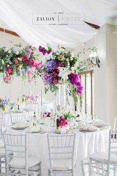 Greek themed wedding with beautiful pastel colours, colors, hanging arrangements, delphiniums, orchids, hydrangeas, roses, bougainvillea, suspended florals, Zavion Kotze Hydrangea Wedding Decor, Wedding Decorations, Table Decorations, Delphiniums, Hydrangeas, Greek Wedding, Our Wedding, Reception Ideas, Wedding Reception