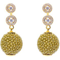 Medusa collection stingray ball earring with zircon design kiwi (5.340 ARS) ❤ liked on Polyvore featuring jewelry, earrings, pave earrings, pave ball earrings, ball jewelry, green earrings and pave jewelry