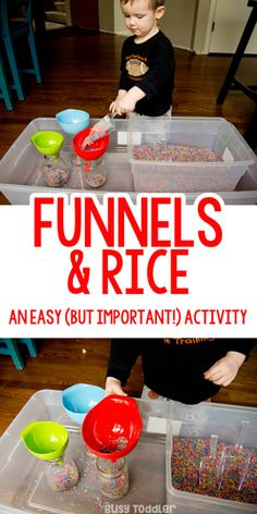 Funnels and Rice: A Perfect Sensory Bin; a quick and easy sensory bin; easy todd… Funnels and Rice: A Perfect Sensory Bin; a quick and easy sensory bin; rainbow rice activity by Busy Toddler Toddler Sensory Bins, Sensory Activities Toddlers, Montessori Toddler, Baby Sensory, Montessori Activities, Toddler Play, Infant Activities, Toddler Preschool, Sensory Play