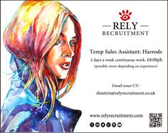 Temp Sales Assistant for Harrods concession (2 days a week continuous work). £8ph (possibly more dependant on experience) Email your cv to dimitris@relyrecruitment.co.uk      #retail #luxuryretail #luxuryretailrecruitment #luxuryrecruitment #luxuryfashion #luxuryjobs #bondstreet #london #londonfashion #glamour #harrods #selfridges #westfield #menswear #sexy #ladieswear #womenswear #salesassistant #girls #fashion #russian #chinese #mandarin #storemanager #menswear #LouisVuitton #Hermès…
