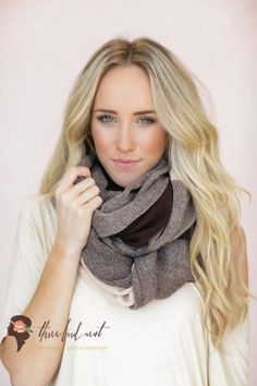 Blanket Color Block Scarf, Knit Scarf, Fashion Accessories, Brown, Taupe, Serged Trim Women's Scarf (SCF-63)