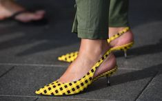 A yellow checked slingback at Stockholm Fashion Week in August.