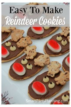 How To Make Reindeer Cookies The Easy Way - Recipes for Dinner, Dessert, and More - Kids will love to make these delightful reindeer cookies. They are easy to make, taste delicious, a - Christmas Reindeer Cookies, Christmas Snacks, Xmas Food, Christmas Cooking, Christmas Goodies, Christmas Christmas, Christmas Recipes, Christmas Desserts For Kids To Make, Christmas Lunch Ideas