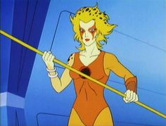 Cheetara - ThunderCats . She also carries a bo staff that can grow into various sizes and is attached to her armband when not in use.