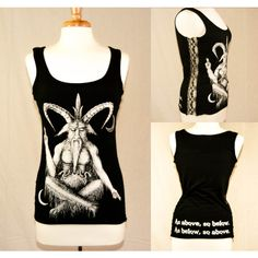Baphomet Gothic Lace-Up Tank ($35) ❤ liked on Polyvore