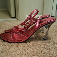 Metallic Pink Strappy Heels Brand: unlisted- A Kenneth Cole Production. Metallic Pink with clear heel. Worn once. Very comfortable, just don't fit me well any more. Unlisted Shoes Heels