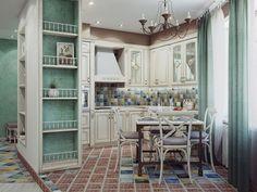 Кухня в стиле шебби-шик: винтажная роскошь для ценителей комфорта и 80 уютных интерьеров http://happymodern.ru/kuxnya-v-stile-shebbi-shik/ Современная кухня шебби-шик в зелено-белом цвете