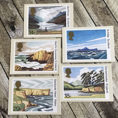 National Trust Postcards, set of vintage postage stamp picture cards, PHQ cards from Scotland and Ireland, England and Wales, landscape art Vintage Ephemera, Vintage Books, Vintage Paper, Vintage Postcards, Landscape Art, Ireland Landscape, Office Pictures, Postcards For Sale, Picture Cards