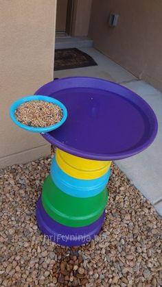 DIY Flower pot Bird Bath by thriftyninja.net #LowesCreator