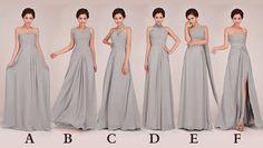 Custom made Bridesmaid Dress - gray Bridesmaid Dress / long Bridesmaid Dress